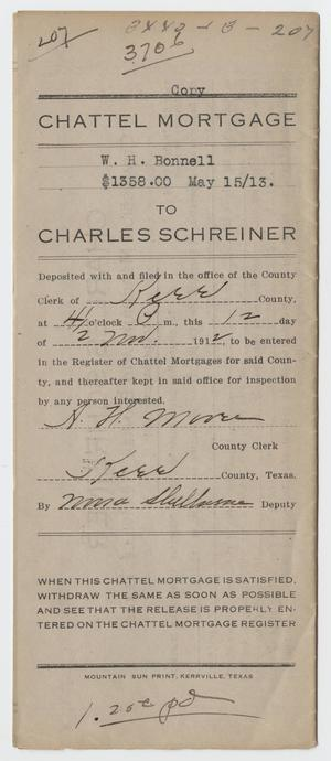 [Copy of a Chattel Mortgage Agreement Between W. H. Bonnell and Charles Schreiner]