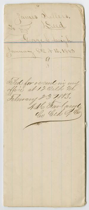 Primary view of object titled '[Deed from James Sellers to George L. Leigh, January 8, 1883]'.