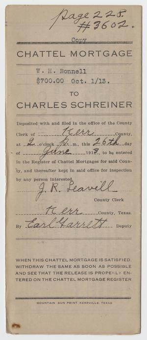 [Copy of a Chattel Mortgage Agreement Between W. H. Bonnell and Charles Schreiner, June 26, 1913]