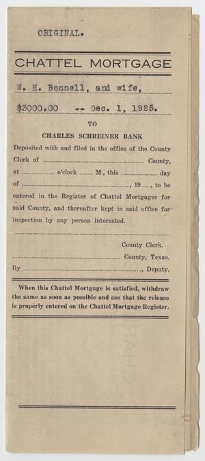 [Chattel Mortgage Agreement Between W. H. and Allie H. Bonnell and Charles Schreider Bank]