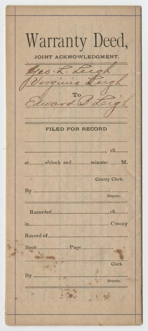 [Warranty Deed from George L. Leigh to Edward B. Leigh]