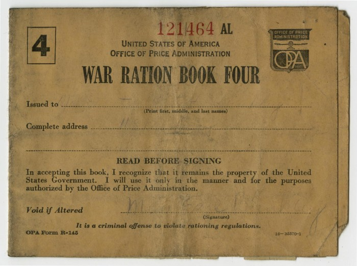 Primary View Of Object Titled U0027War Ration Book Fouru0027.