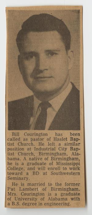 Primary view of [Newspaper Clipping Referencing Bill Courington]