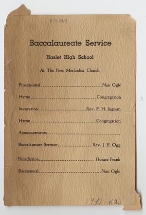 [Haslet High School Baccalaureate Service]