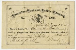 Primary view of [Membership Certificate for the Galveston Hook and Ladder Company, No.1]