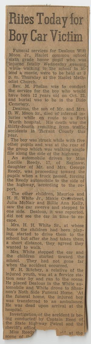 [Newspaper Clipping for Dealous Witt Moon, Jr.'s Funeral Services]