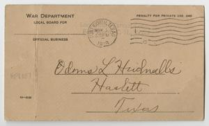 [Postcard from Odons L. Hudnalls to the Local War Department Board]