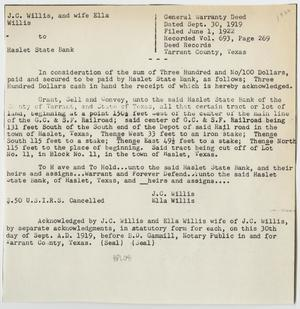 [Contract Between J. C. and Ella Willis and the Haslet State Bank Number 2]
