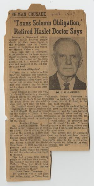[Newspaper Article Describing Dr. J. H. Gammill's Tax Aid]