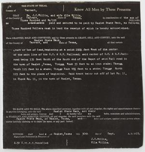 [Contract Between J. C. and Ella Willis and the Haslet State Bank Number 1]