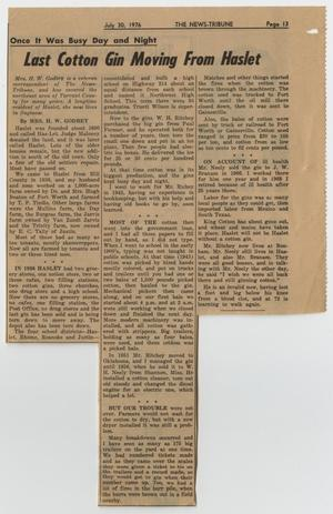 Primary view of object titled '[The News-Tribune Newspaper Clipping from July 30, 1976]'.