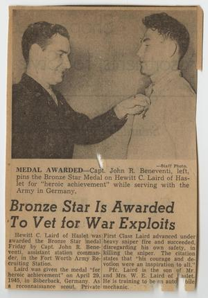 [Newspaper Headline for a Soldier Receiving a Medal]