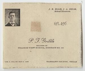 Primary view of object titled '[Class Roster for P. J. Gribble at Prairie View School]'.