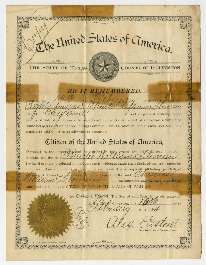 Certificate of Citizenship to Charles William Sloman] - The Portal ...