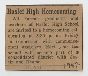 [Newspaper Clipping Advertising the Haslet High School Homecoming]