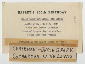 Primary view of [Card Advertising Haslet's 100th Birthday]