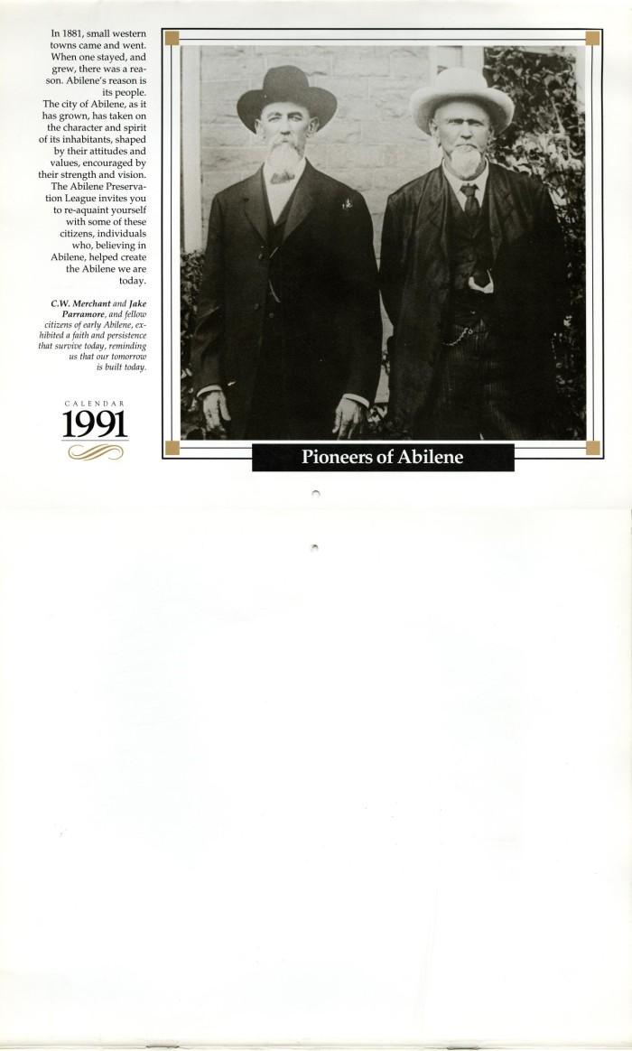 Pioneers Of Abilene 1991 Calendar The Portal To Texas History