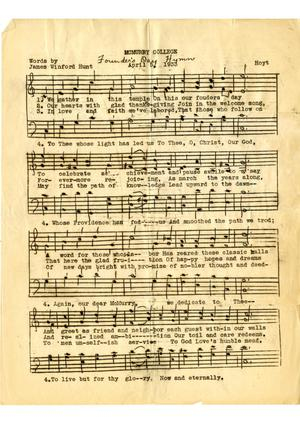 Primary view of object titled '[McMurry University Founder's Day Hymn]'.
