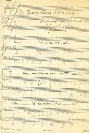Primary view of object titled '[McMurry University Alma Mater Song - Original Copy]'.