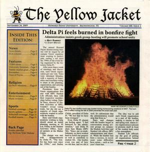 Primary view of object titled 'The Yellow Jacket (Brownwood, Tex.), Vol. 100, No. 2, Ed. 1 Thursday, September 24, 2009'.