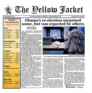 Primary view of object titled 'The Yellow Jacket (Brownwood, Tex.), Vol. 103, No. 5, Ed. 1 Thursday, November 2, 2012'.