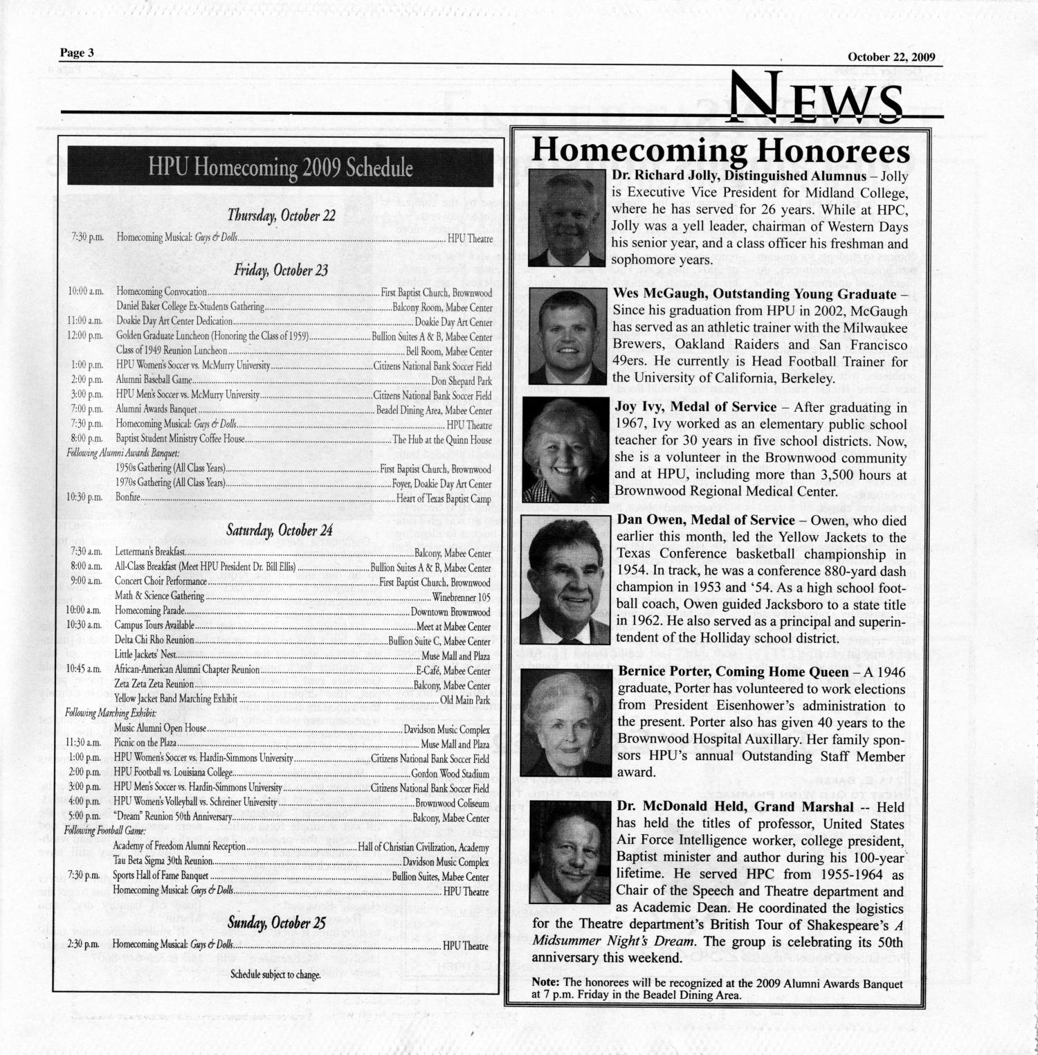 The Yellow Jacket (Brownwood, Tex.), Vol. 100, No. 4, Ed. 1 Thursday, October 22, 2009                                                                                                      [Sequence #]: 3 of 16
