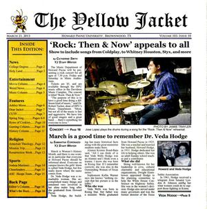 Primary view of object titled 'The Yellow Jacket (Brownwood, Tex.), Vol. 103, No. 10, Ed. 1 Thursday, March 21, 2013'.