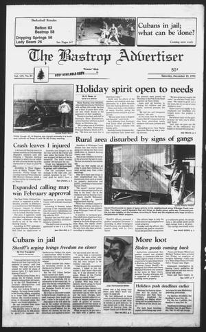 Primary view of object titled 'The Bastrop Advertiser (Bastrop, Tex.), Vol. 139, No. 84, Ed. 1 Saturday, December 19, 1992'.