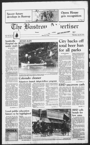 Primary view of object titled 'The Bastrop Advertiser (Bastrop, Tex.), Vol. 139, No. 43, Ed. 1 Thursday, July 30, 1992'.