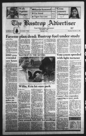 Primary view of object titled 'The Bastrop Advertiser (Bastrop, Tex.), Vol. 136, No. 73, Ed. 1 Thursday, November 9, 1989'.