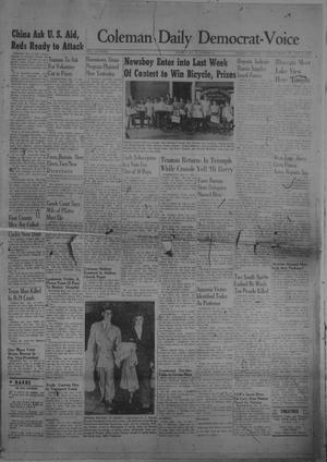 Primary view of object titled 'Coleman Daily Democrat-Voice (Coleman, Tex.), Vol. 1, No. 1, Ed. 1 Friday, November 5, 1948'.