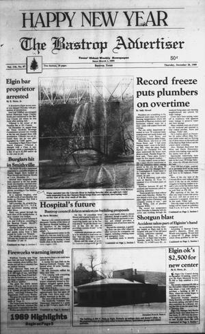 Primary view of object titled 'The Bastrop Advertiser (Bastrop, Tex.), Vol. 136, No. 87, Ed. 1 Thursday, December 28, 1989'.