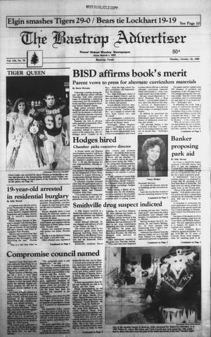 Primary view of object titled 'The Bastrop Advertiser (Bastrop, Tex.), Vol. 136, No. 70, Ed. 1 Monday, October 30, 1989'.