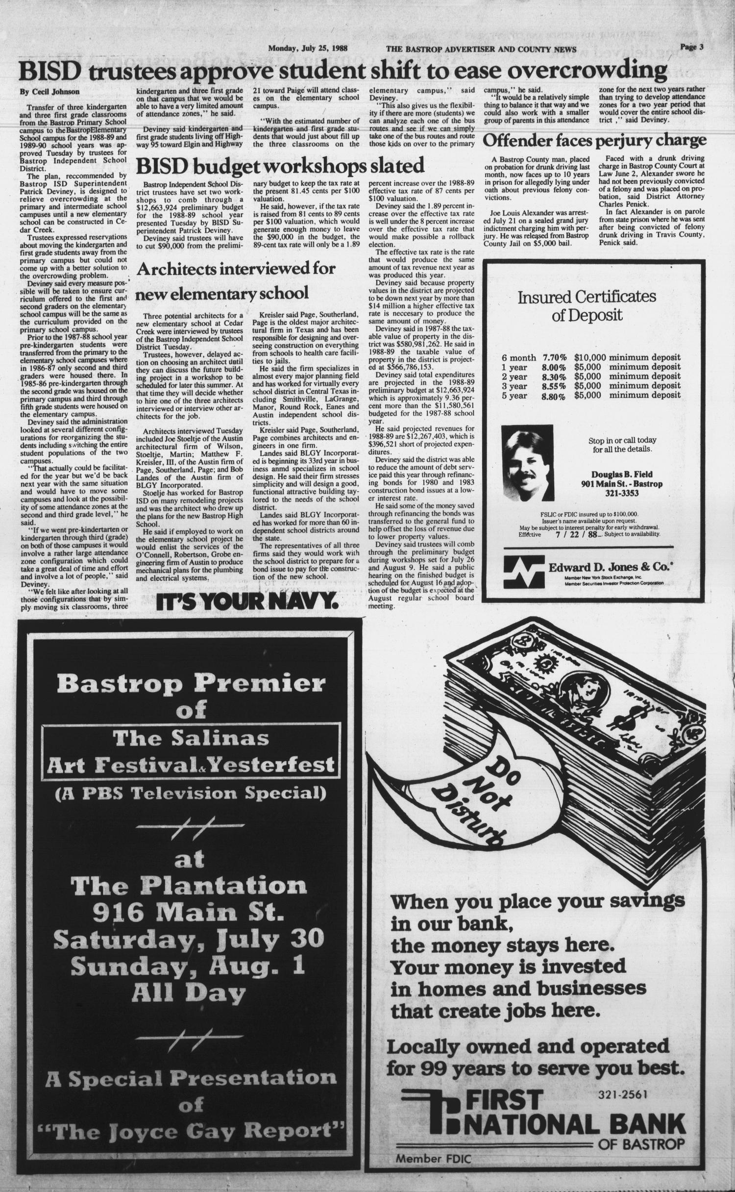 The Bastrop Advertiser and County News (Bastrop, Tex.), Vol. 135, No. 42, Ed. 1 Monday, July 25, 1988                                                                                                      [Sequence #]: 3 of 18