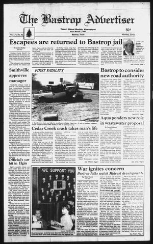 Primary view of The Bastrop Advertiser (Bastrop, Tex.), Vol. 137, No. 92, Ed. 1 Monday, January 21, 1991
