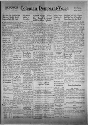 Primary view of Coleman Democrat-Voice (Coleman, Tex.), Vol. 62, No. 34, Ed. 1 Thursday, August 26, 1943