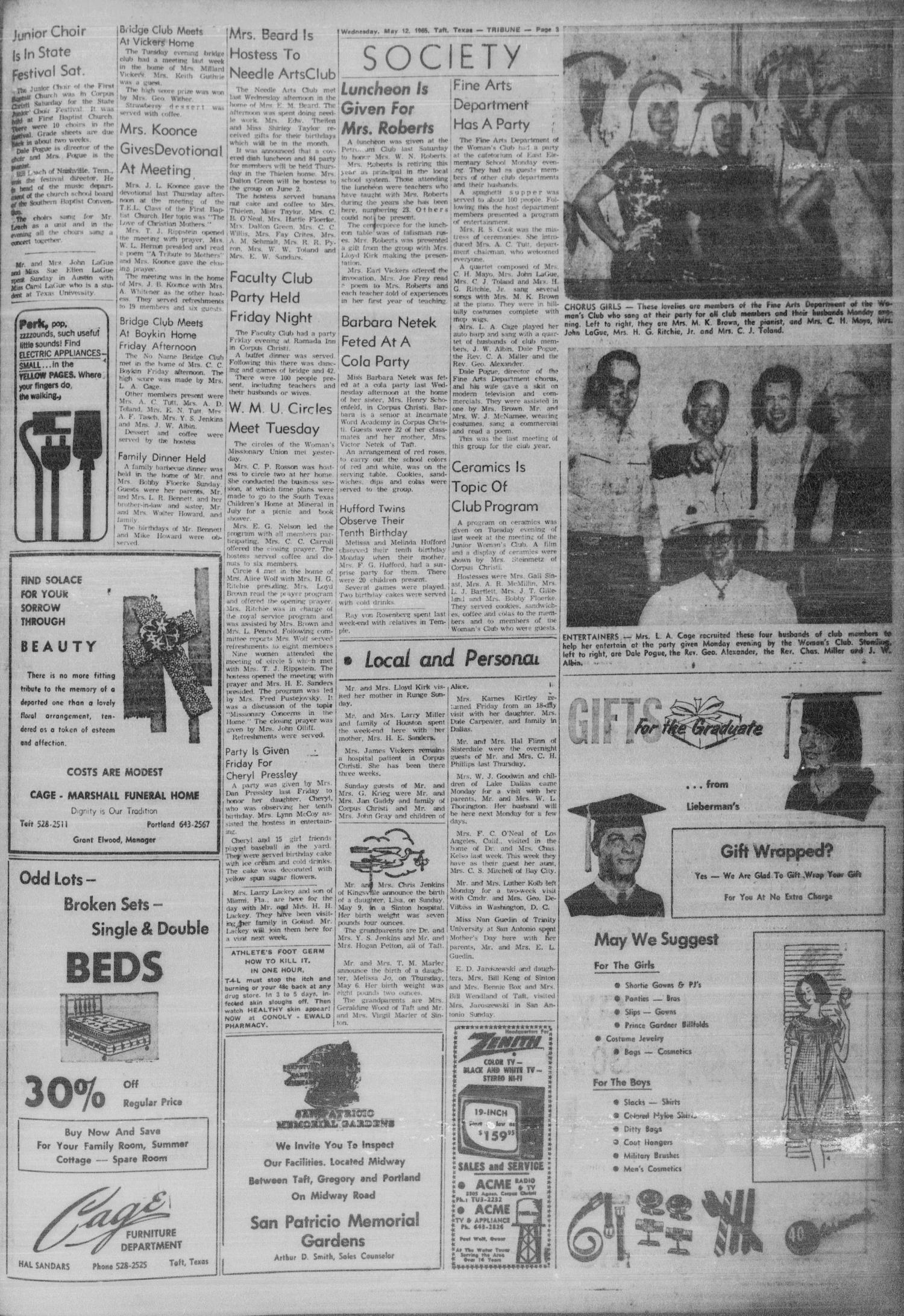 The Taft Tribune (Taft, Tex.), Vol. 46, No. 32, Ed. 1 Wednesday, May 12, 1965                                                                                                      [Sequence #]: 3 of 10