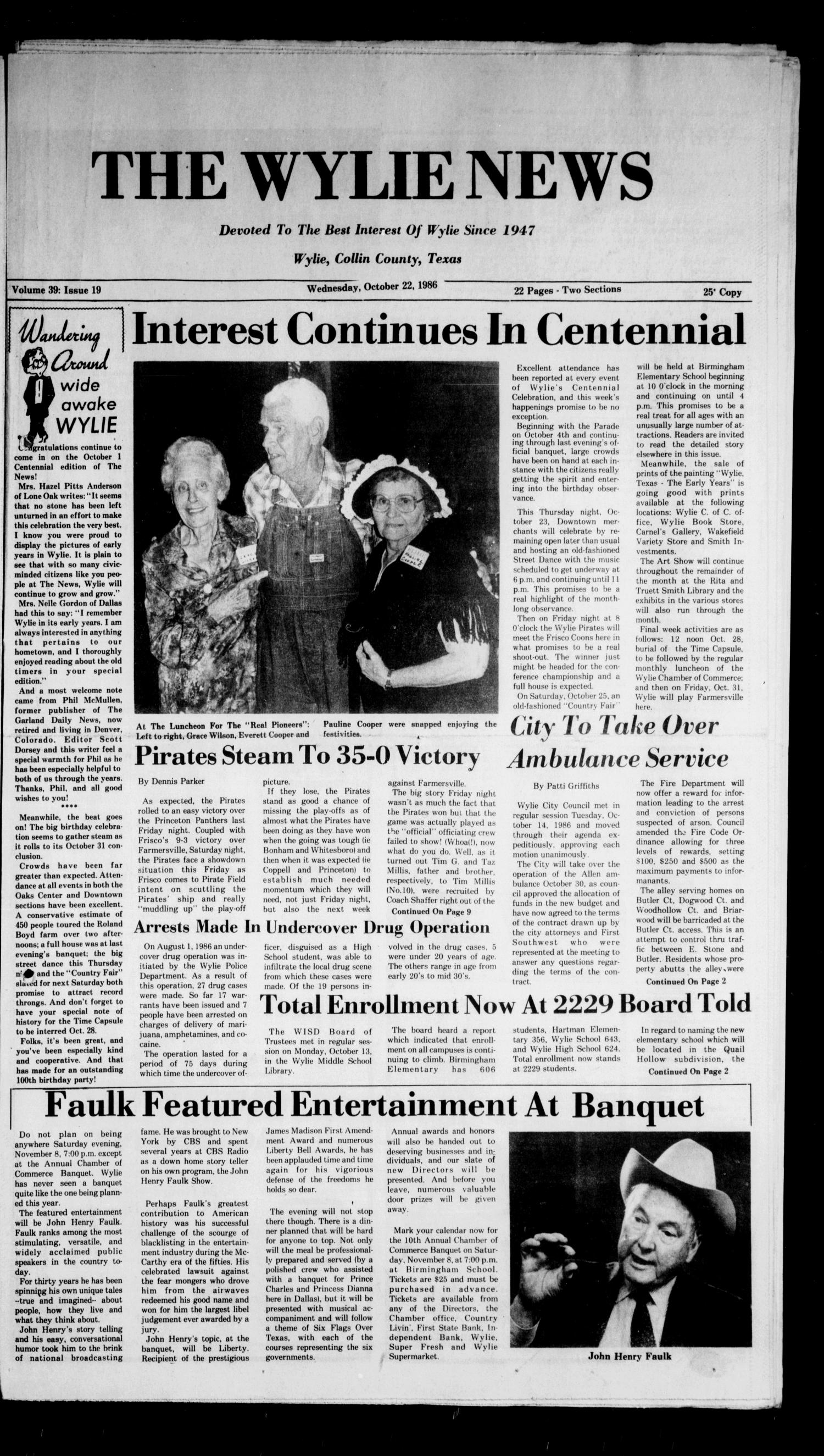 The Wylie News (Wylie, Tex.), Vol. 39, No. 19, Ed. 1 Wednesday, October 22, 1986                                                                                                      [Sequence #]: 1 of 22