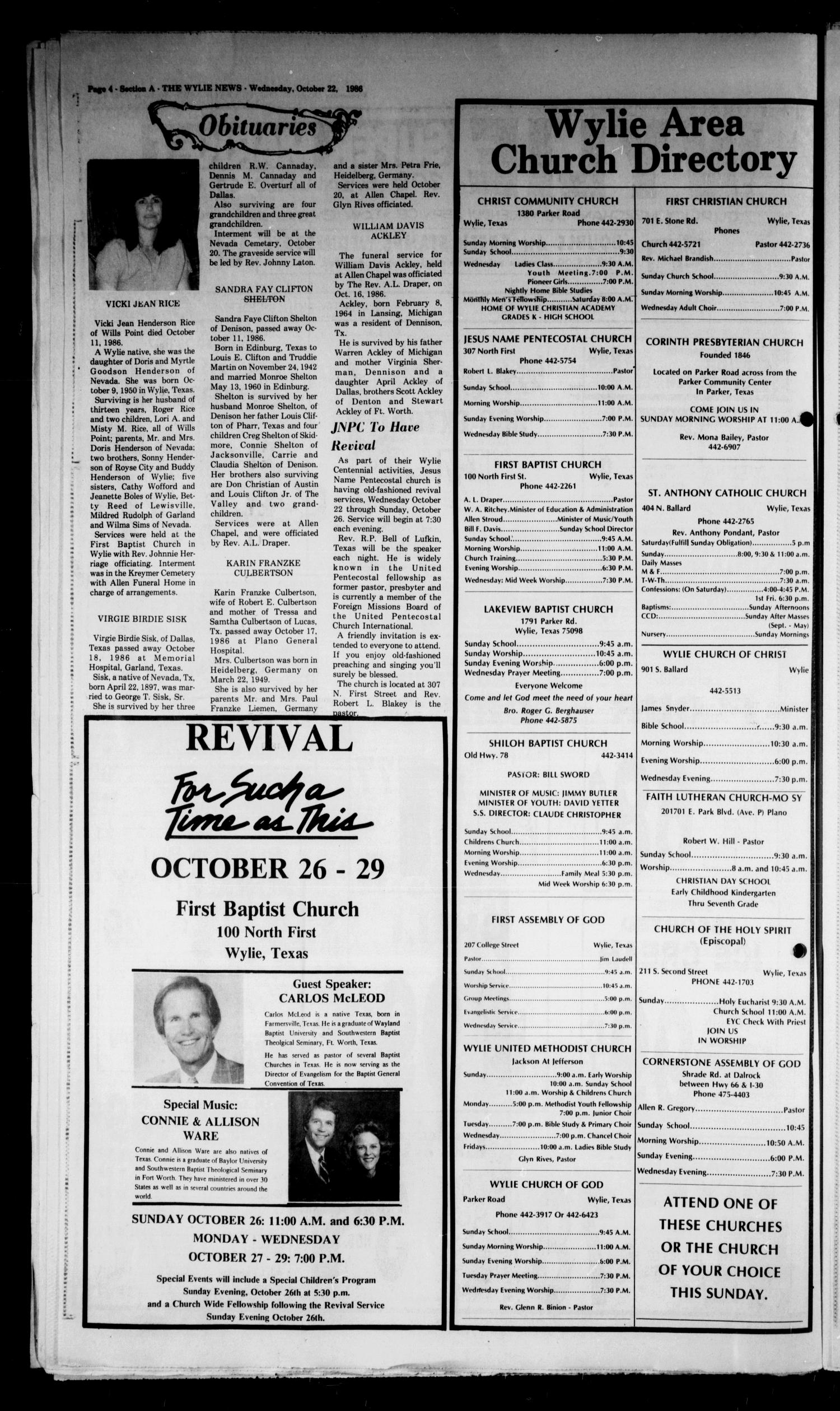The Wylie News (Wylie, Tex.), Vol. 39, No. 19, Ed. 1 Wednesday, October 22, 1986                                                                                                      [Sequence #]: 4 of 22