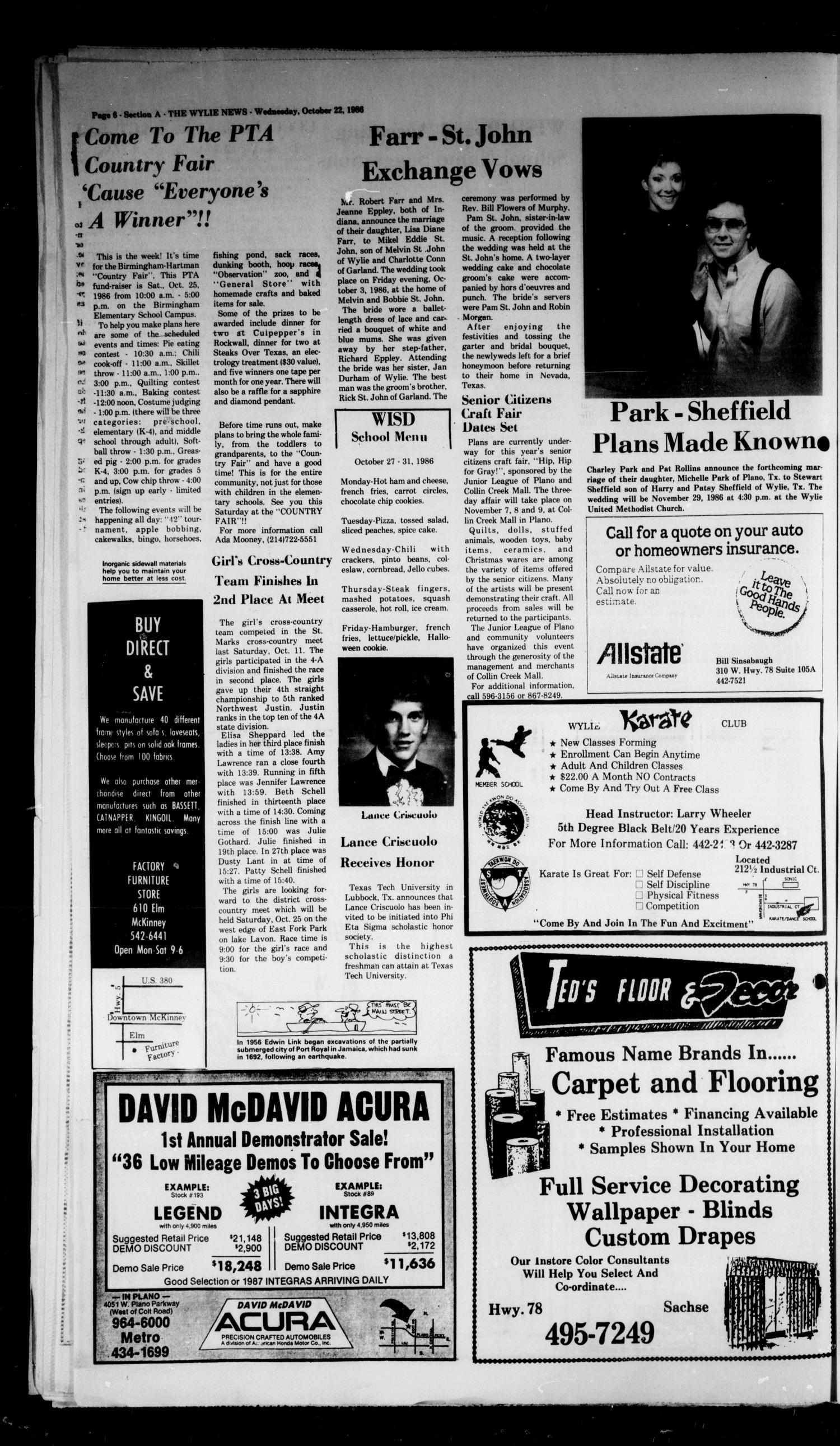 The Wylie News (Wylie, Tex.), Vol. 39, No. 19, Ed. 1 Wednesday, October 22, 1986                                                                                                      [Sequence #]: 6 of 22