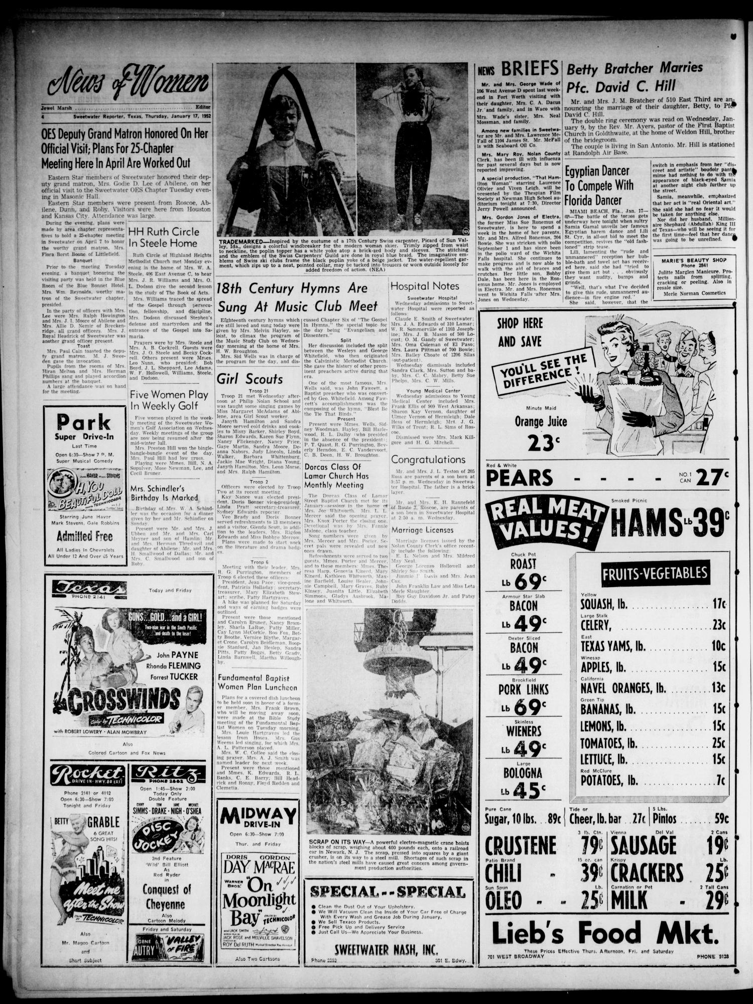 Sweetwater Reporter (Sweetwater, Tex.), Vol. 55, No. 13, Ed. 1 Thursday,  January 17, 1952 - Page 4 of 16 - The Portal to Texas History