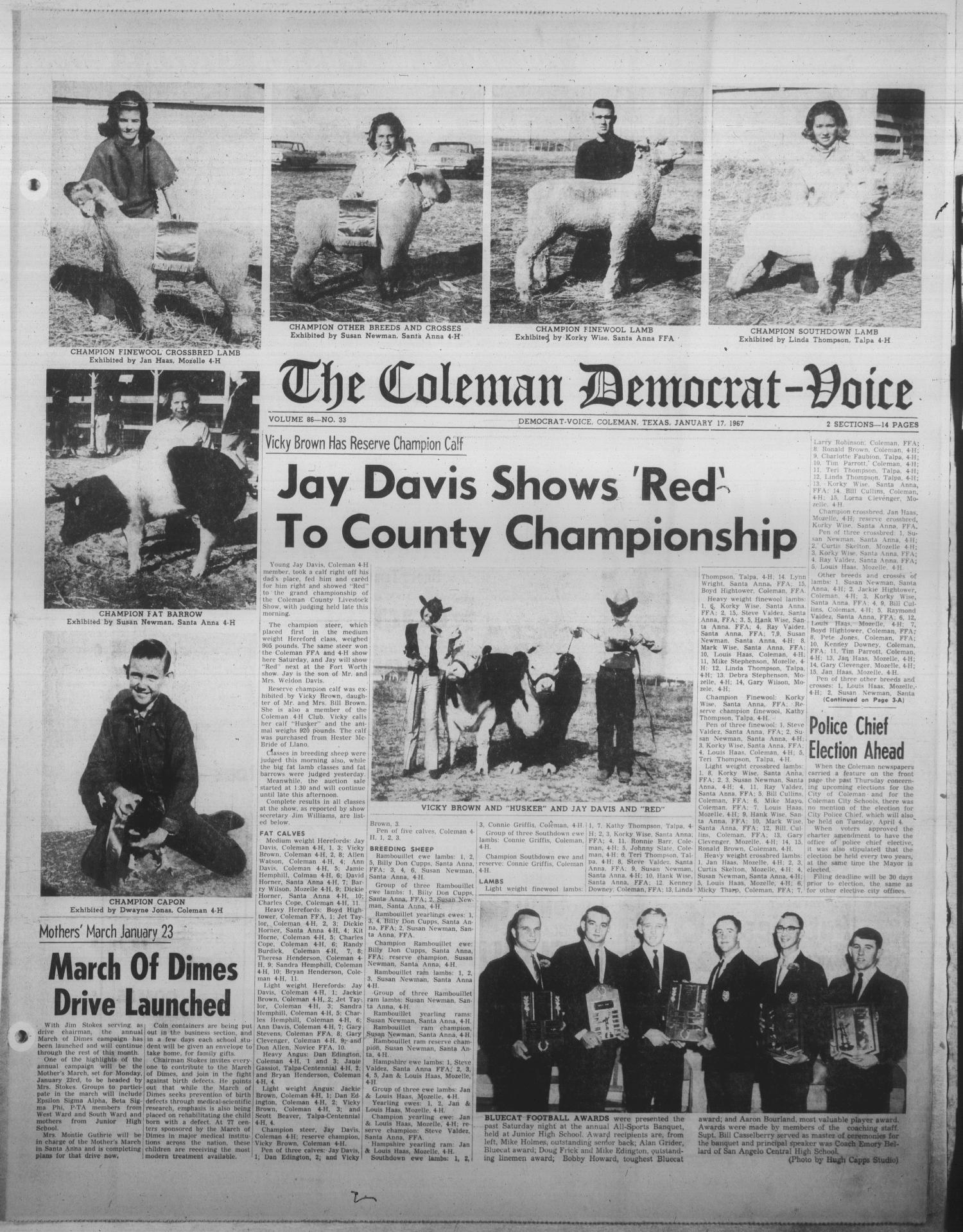 The Coleman Democrat-Voice (Coleman, Tex.), Vol. 86, No. 33, Ed. 1 Tuesday, January 17, 1967                                                                                                      [Sequence #]: 1 of 14