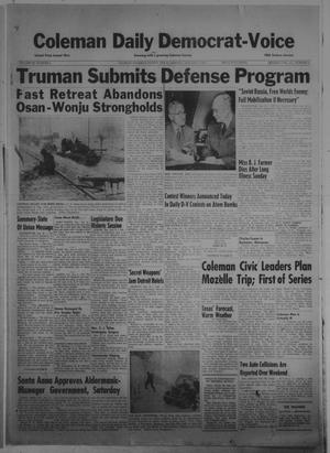 Primary view of object titled 'Coleman Daily Democrat-Voice (Coleman, Tex.), Vol. 3, No. 5, Ed. 1 Monday, January 8, 1951'.