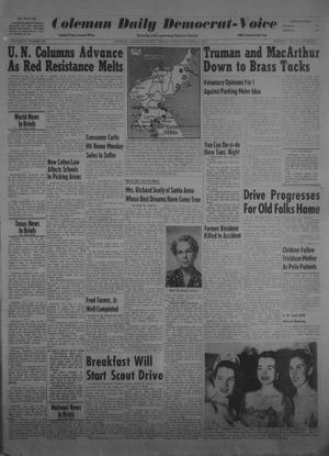 Primary view of object titled 'Coleman Daily Democrat-Voice (Coleman, Tex.), Vol. 2, No. 302, Ed. 1 Sunday, October 15, 1950'.