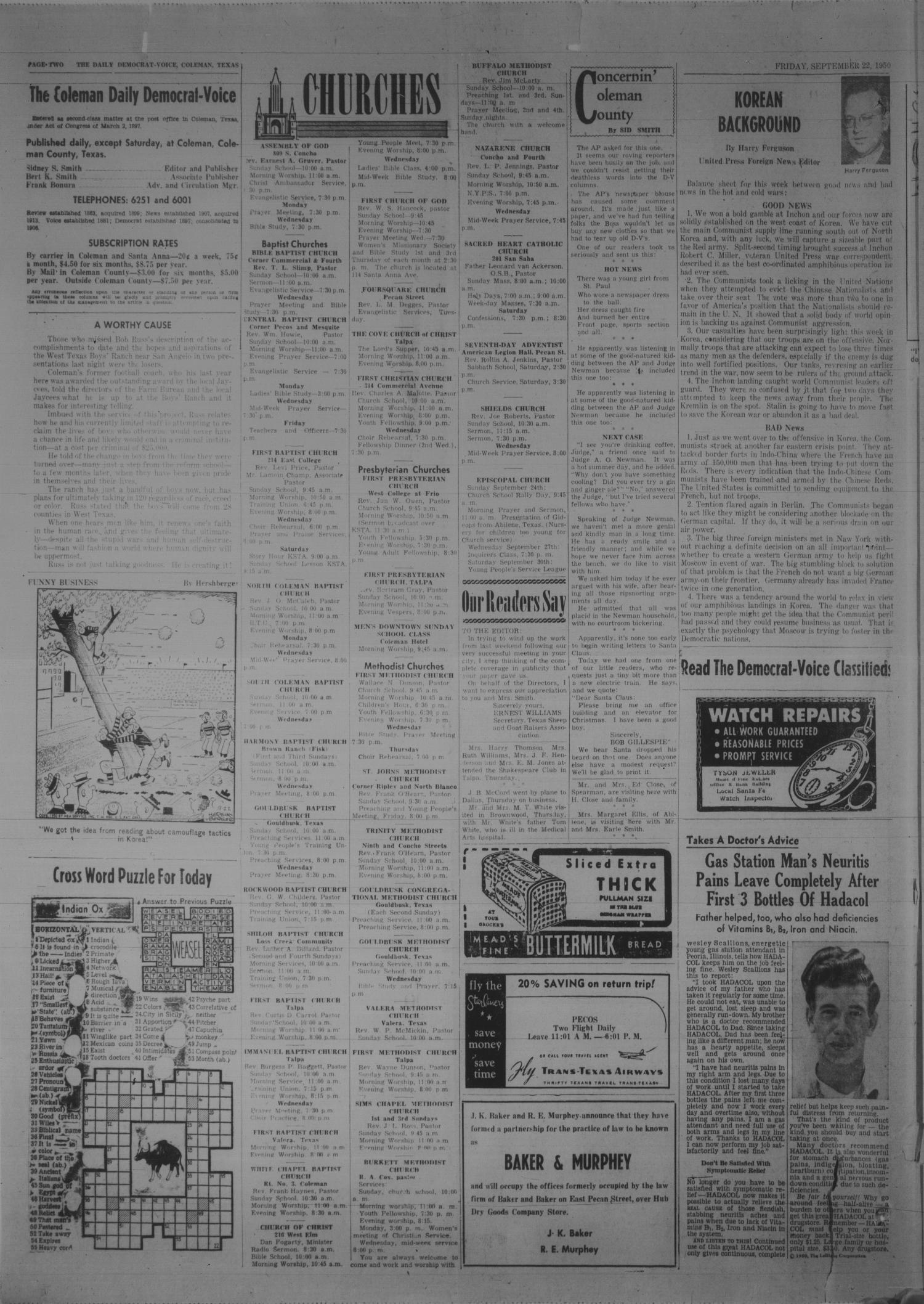 Coleman Daily Democrat-Voice (Coleman, Tex.), Vol. 2, No. 283, Ed. 1 Friday, September 22, 1950                                                                                                      [Sequence #]: 2 of 6