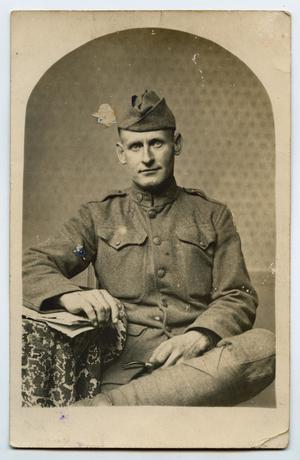 Primary view of object titled '[Portrait of an Unidentified World War One Soldier in Uniform]'.