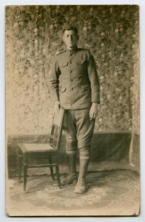 Primary view of object titled '[Portrait of an Unknown Soldier by a Chair]'.