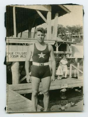 Primary view of object titled '[Photograph of Charles Bohannon King at a Pool in Arkansas]'.
