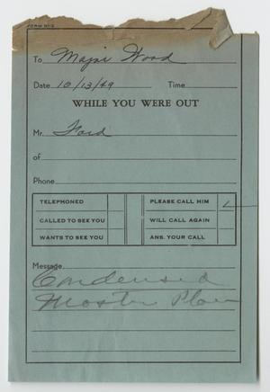 Primary view of object titled '[Missed Phone Call Message to Major Wood]'.