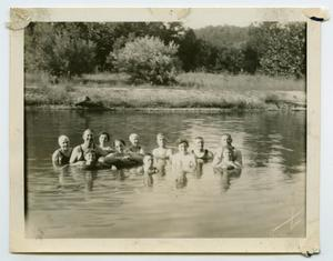 Primary view of object titled '[Photograph of a Group of Friends in Rowlett Creek]'.